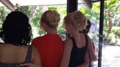 Models hair done ready for 'Relay for Life' Fashion parade at Kewara Beach Resort