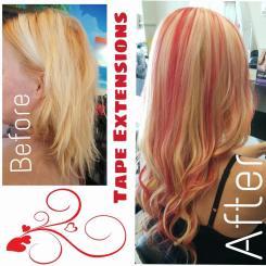 Pink highlights hair colour