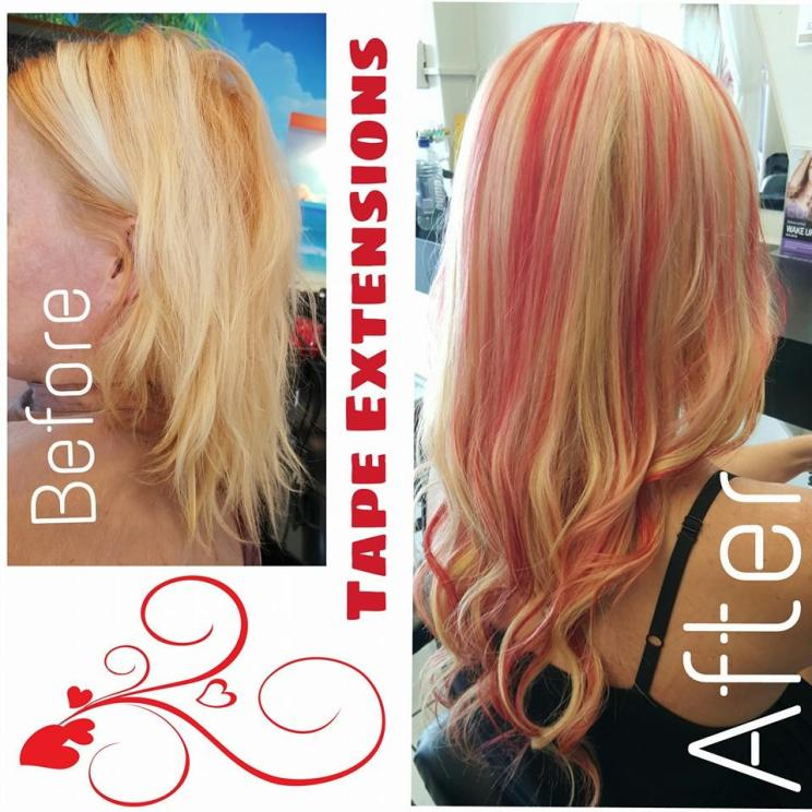 Pink highlights hair colour