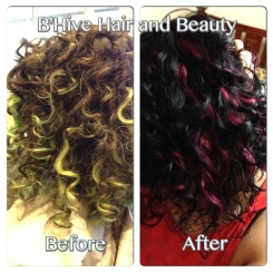 Before and after, now with black hair and pink foils