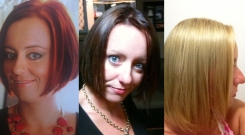Transformation from Red, to Brown to Blonde.